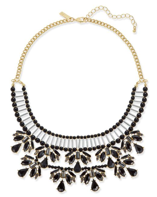 INC International Concepts | Black Two-tone Jet Stone & Bead Statement Necklace | Lyst