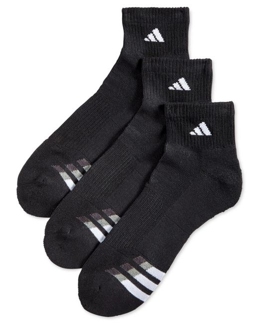 Adidas | Black Cushion Performance Quarter Socks 3-pack for Men | Lyst