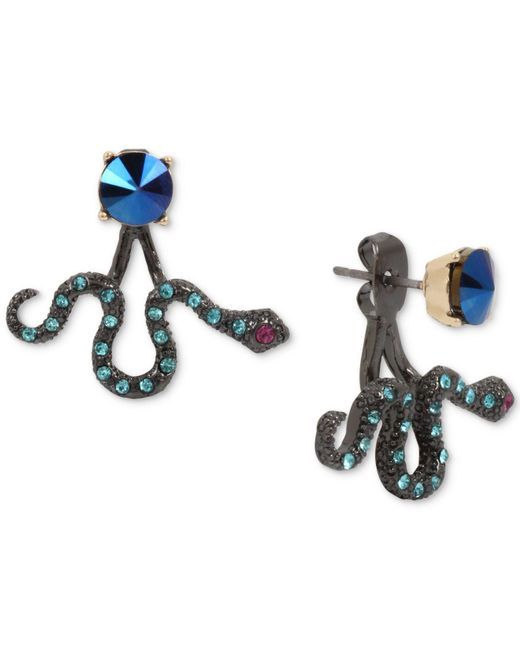 Betsey Johnson | Two-tone Blue Stone Snake Front-back Earrings | Lyst