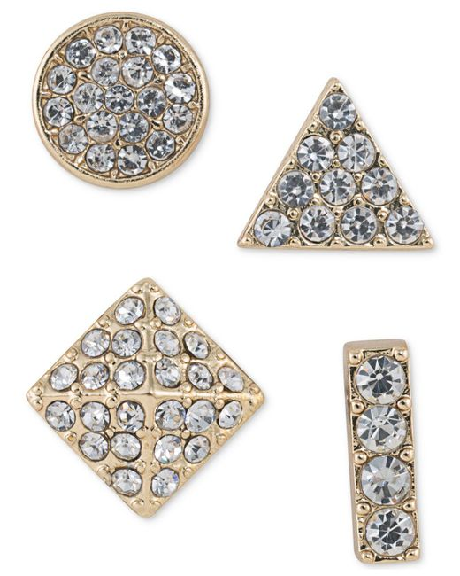 ABS By Allen Schwartz | Metallic Gold-tone 4-pc. Set Mixed Pavé Stud Earrings | Lyst