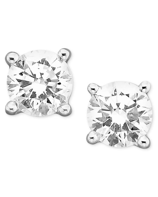 Macy's | Certified Colorless Diamond Stud Earrings In 18k White Gold (1/3 Ct. T.w.) | Lyst