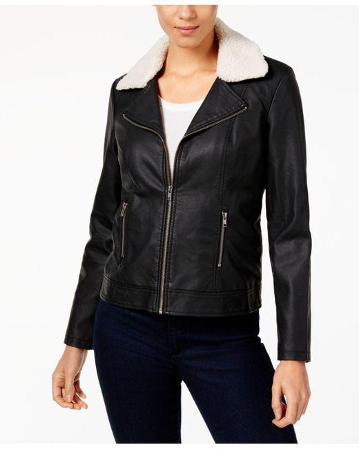 Style & Co. | Black Faux-leather Sherpa Jacket | Lyst