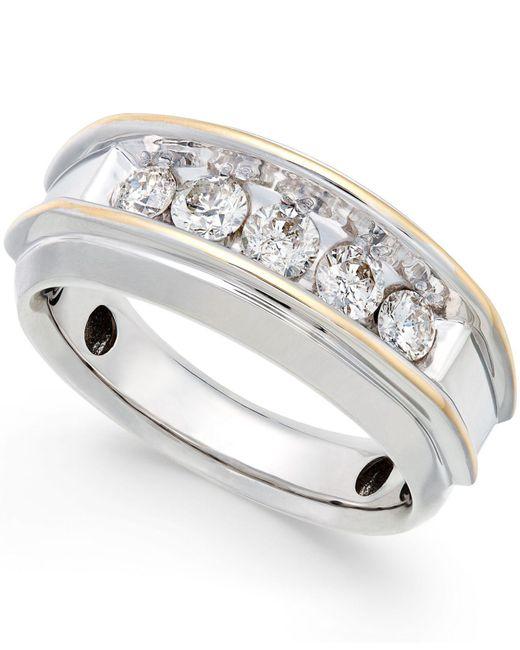 Macy's - Metallic Men's Five-stone Two-tone Diamond Ring In 10k Gold (1 Ct. T.w.) for Men - Lyst
