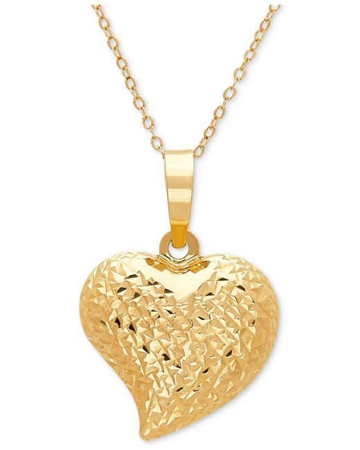 Macy's | Metallic Textured Puff Heart Pendant Necklace In 10k Gold | Lyst