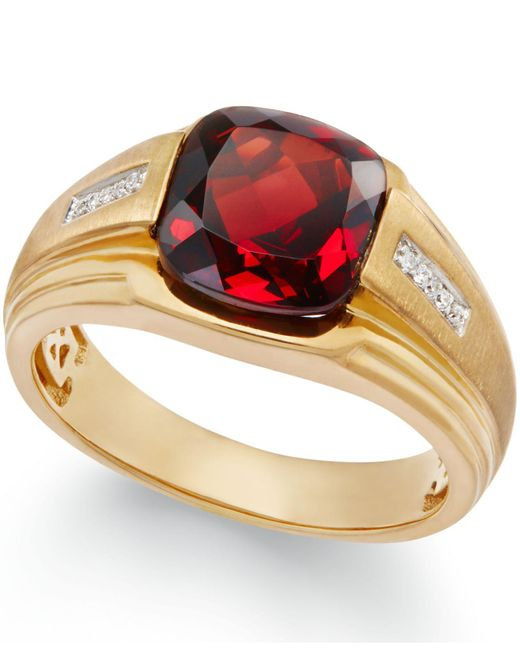Macy's - Metallic Men's Garnet (5 Ct. T.w.) And Diamond Accent Ring In 10k Gold for Men - Lyst