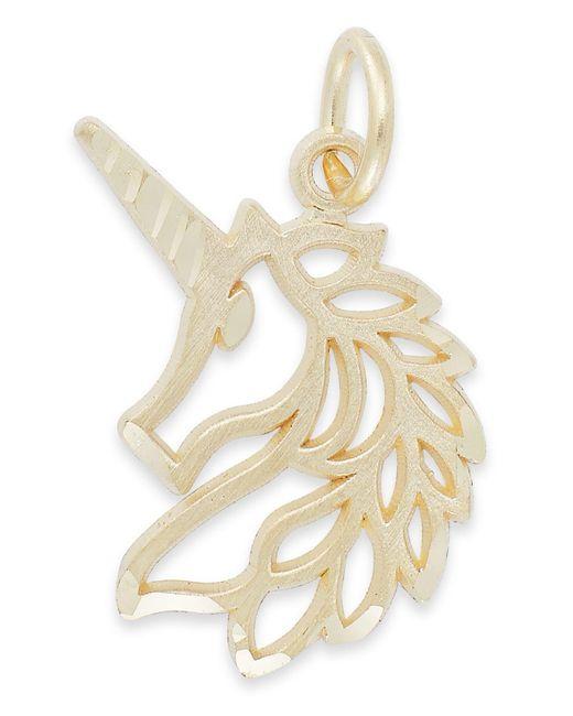 Macy's - Metallic Unicorn Head Charm In 14k Gold - Lyst