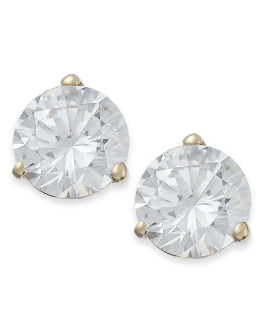 Arabella | Metallic 14k Gold Earrings, Swarovski Zirconia Stud Earrings (7mm) | Lyst