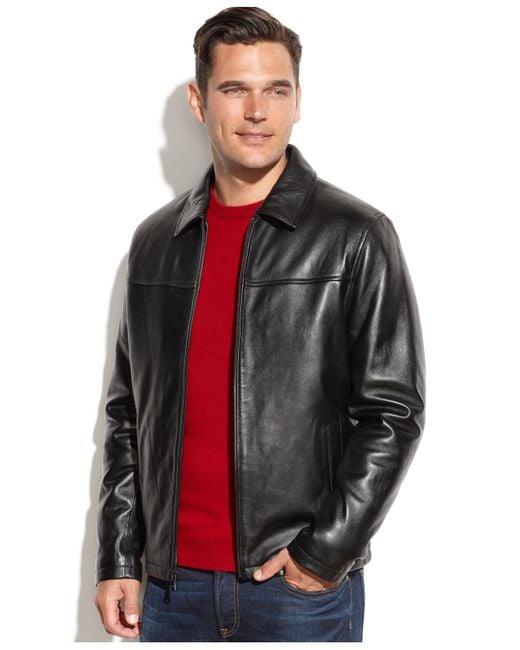 Izod - Black Leather Bomber Jacket for Men - Lyst