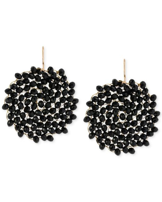 Kenneth Cole - Black Jet Faceted Woven Bead Round Drop Earrings - Lyst