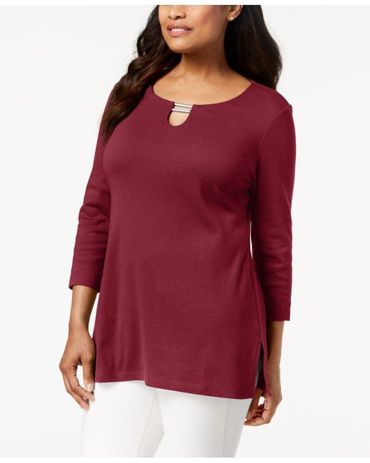 Karen Scott - Red Split-neck Tunic Top, Created For Macy's - Lyst