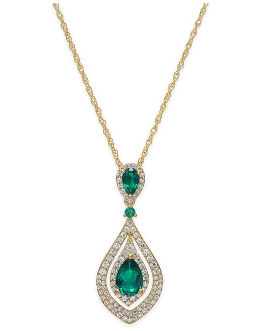 Macy's | Green Certified Ruby (1-1/4 Ct. T.w.) And Diamond (1/2 Ct. T.w.) Pendant Necklace In 14k Gold | Lyst