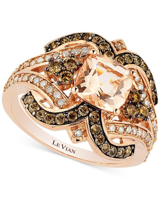 Le Vian - Pink Chocolatier® Peach Morganite (1 Ct. T.w.) And Diamond (3/4 Ct. T.w.) Ring In 14k Rose Gold - Lyst