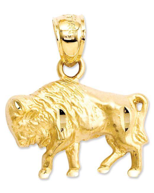 Macy's - Metallic 14k Gold Charm, Diamond-cut Buffalo Charm - Lyst