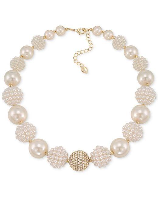 Carolee - Metallic Gold-tone Imitation Pearl And Fireball Collar Necklace - Lyst