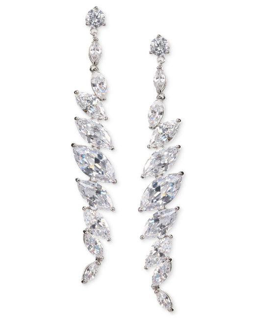 Nina - Metallic Silver-tone Cubic Zirconia Linear Drop Earrings - Lyst