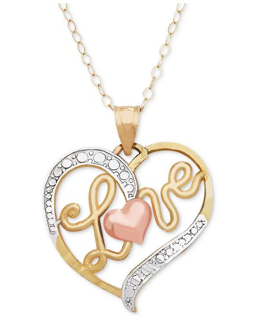 Macy's | Metallic Tri-color Love Heart Pendant Necklace In 10k Gold, Rose Gold And White Rhodium-plate | Lyst