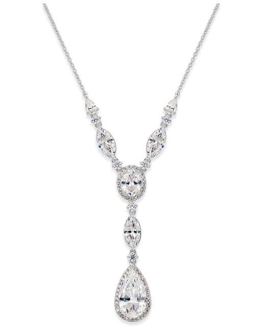 Danori - Metallic Silver-tone Crystal Lariat Necklace - Lyst