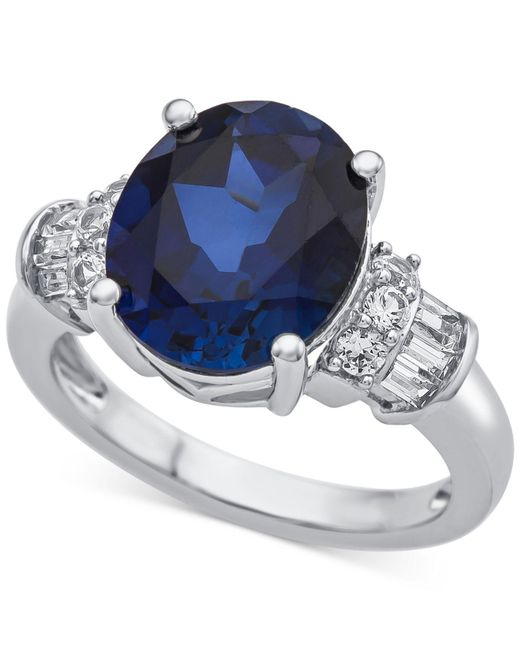Macy's | Metallic Lab-created Sapphire (4-7/8 Ct. T.w.) & White Sapphire (1/3 Ct. T.w.) Ring In Sterling Silver | Lyst