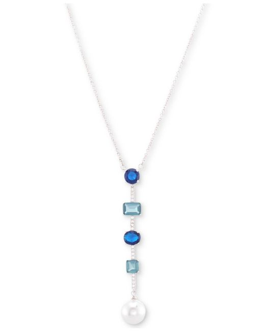 """Nina - Metallic Silver-tone Crystal And Stone Bar & Disc Lariat Necklace, 17"""" + 3"""" Extender - Lyst"""