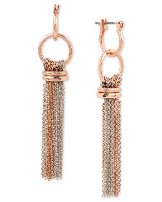 Kenneth Cole - Metallic Two-tone Chain Tassel Drop Earrings - Lyst