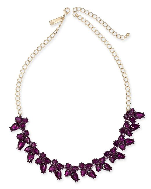 """INC International Concepts - Purple I.n.c. Gold-tone Crystal Flower Necklace, 18"""" + 3"""" Extender, Created For Macy's - Lyst"""