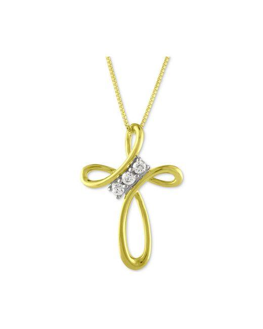 Macy's | Metallic Diamond Cross Pendant Necklace (1/10 Ct. T.w.) In 10k Gold | Lyst