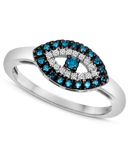Macy's - Metallic Sterling Silver Ring, Blue Diamond (1/10 Ct. T.w.) And White Diamond Accent Evil Eye Ring - Lyst