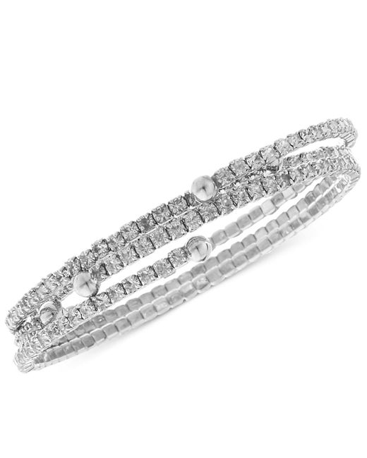 Nine West | Metallic Bracelet Set, Silver-tone Crystal Coil Bracelets | Lyst