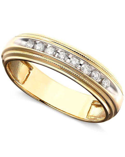Macy's - Metallic Men's Diamond Ring In Two-tone 14k Gold ( 1/5 Ct. T.w.) - Lyst
