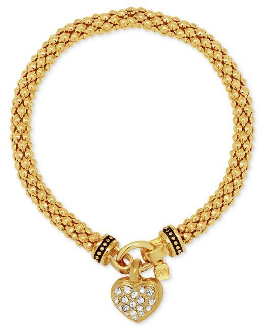 Nine West | Metallic Weave-style Pavé Heart Charm Stretch Bracelet | Lyst
