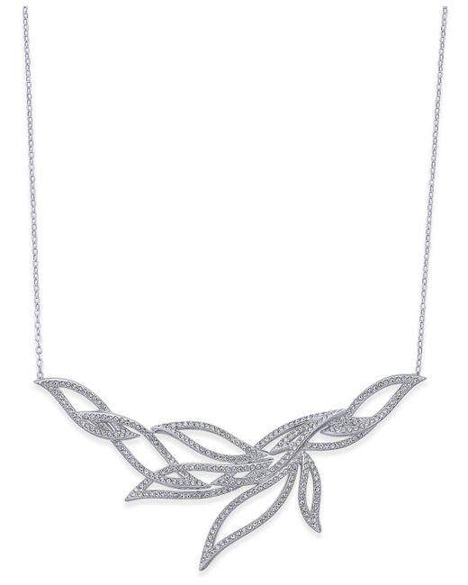 Danori - Metallic Silver-tone Pavé Leaf Collar Necklace - Lyst
