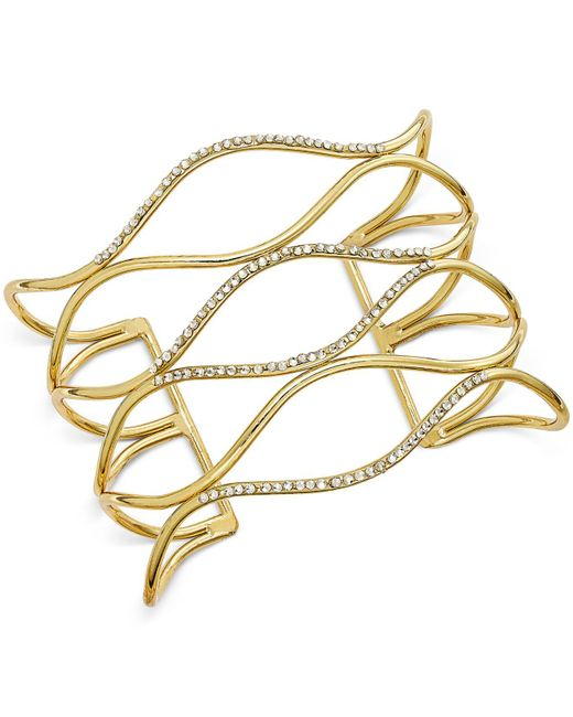 INC International Concepts - Metallic Silver-tone Pavé Open Cuff Bracelet - Lyst