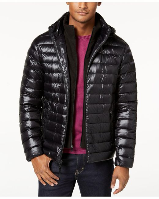 Calvin Klein - Black Men's Packable Hooded Puffer Jacket for Men - Lyst