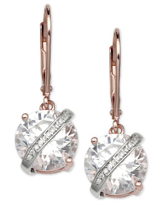 Giani Bernini - Metallic Cubic Zirconia Wrapped Drop Earrings In 18k Rose Gold-plated Sterling Silver, Created For Macy's - Lyst