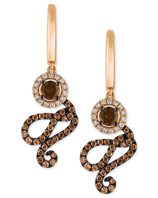 Le Vian - Metallic Diamond Swirl Drop Earrings (1-1/4 Ct. T.w.) In 14k Rose Gold - Lyst