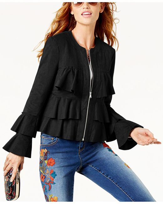 INC International Concepts | Black Ruffled Faux-suede Jacket | Lyst