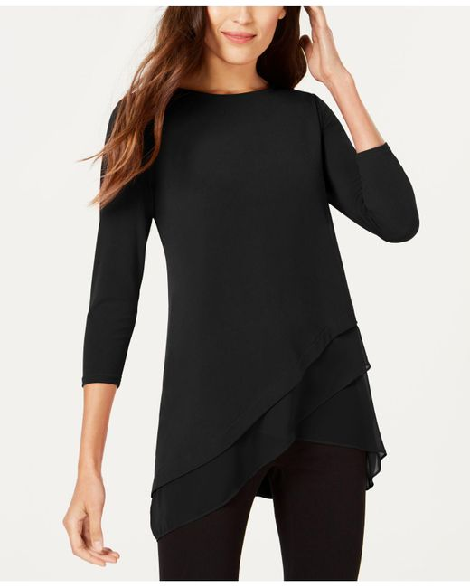Alfani - Black Chiffon Crossover-hem Top, Only At Macy's - Lyst