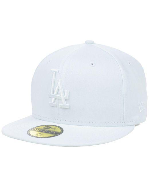 KTZ - Los Angeles Dodgers White-on-white 59fifty Cap for Men - Lyst