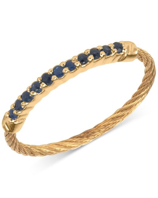 Charriol | Metallic Women's Laetitia Blue Sapphire Accent Gold-tone Pvd Stainless Steel Cable Ring 02-424-1222-0-56 | Lyst