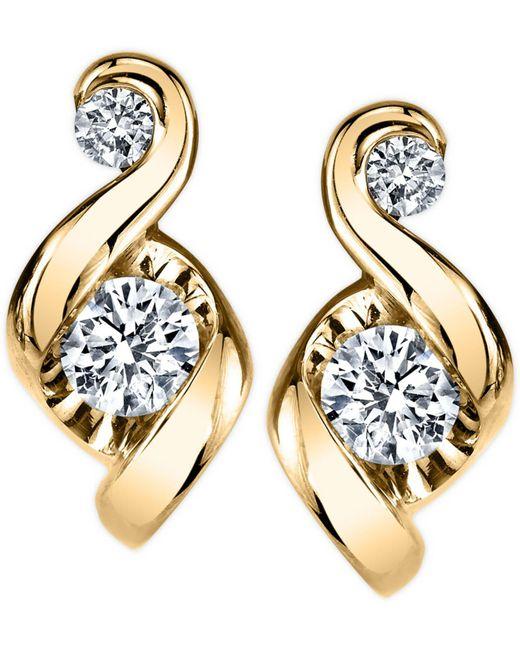 Proud Mom | Metallic Diamond Swirl Stud Earrings (1/4 Ct. T.w.) In 14k Gold Or White Gold | Lyst