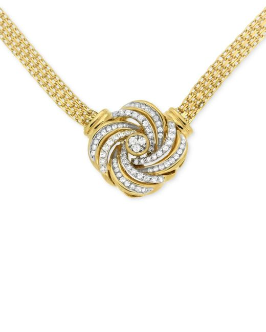 Macy's - Metallic Diamond Love Knot Pendant Necklace (1/2 Ct. T.w.) In 14k Gold-plated Sterling Silver - Lyst