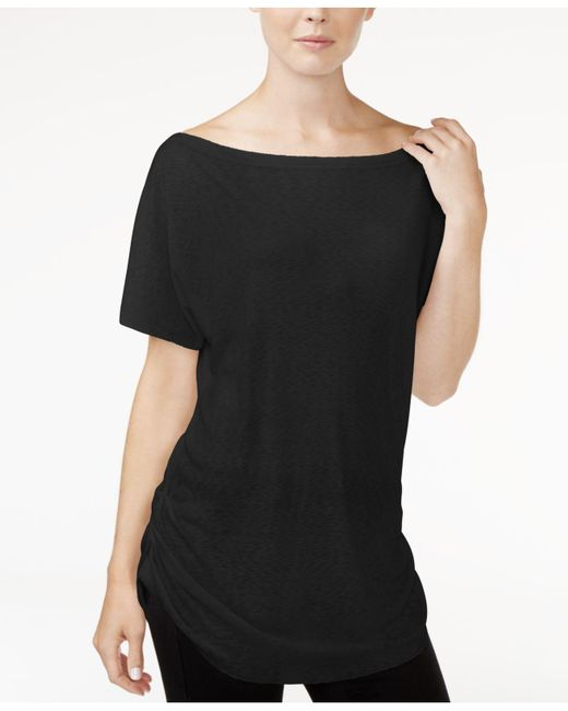 RACHEL Rachel Roy - Black Ruched Boat-neck T-shirt - Lyst