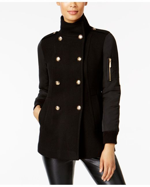 Vince Camuto | Black Military Wool-blend Stand-collar Walker Coat | Lyst