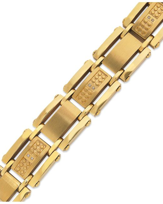 Macy's - Metallic Men's Single-cut Diamond Bracelet In Stainless Steel And Yellow-ion Plating (1/10 Ct. T.w.) for Men - Lyst