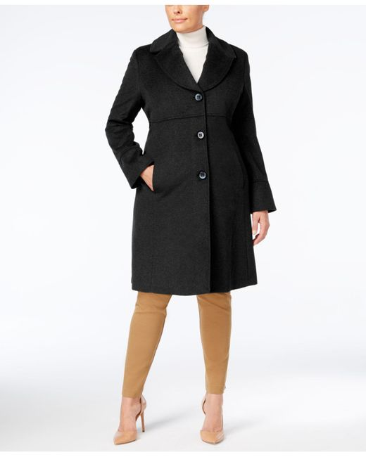 Jones New York - Black Plus Size Notched Shawl-collar Walker Coat - Lyst