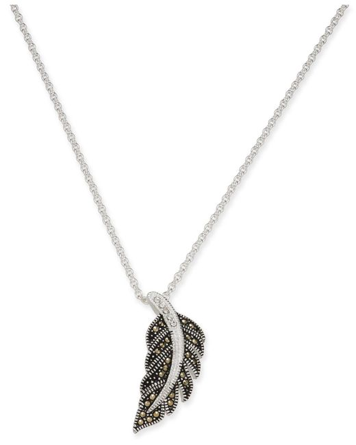 "Macy's - Metallic Marcasite & Crystal Feather 18"" Pendant Necklace In Fine Silver-plate - Lyst"