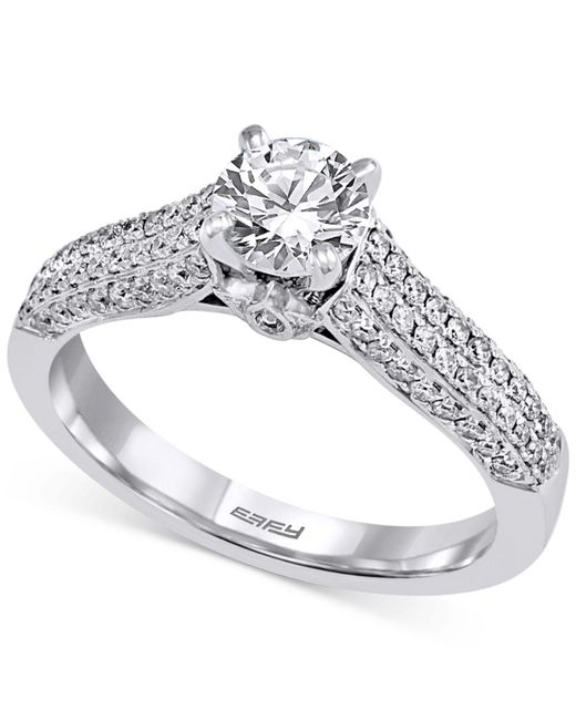 Effy Collection   Metallic Diamond Pavé Engagement Ring (1 Ct. T.w.) In 14k White Gold   Lyst