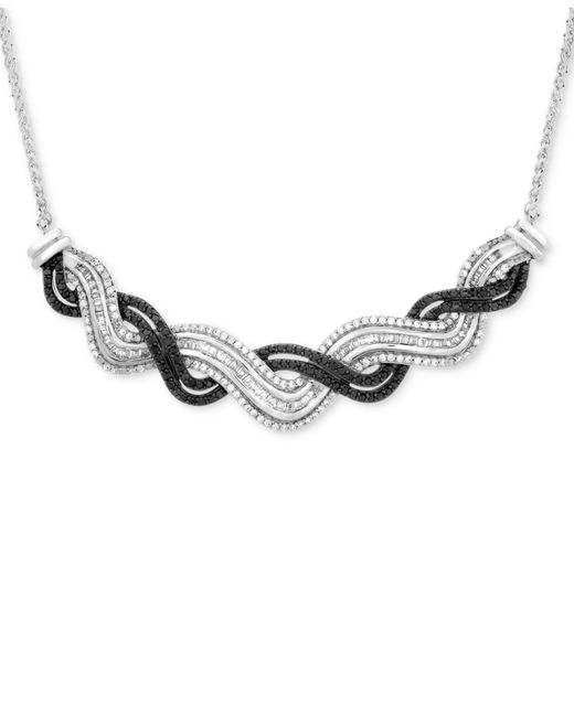 Wrapped in Love - Metallic Diamond Wave Collar Necklace (1 Ct. T.w.) In Sterling Silver - Lyst
