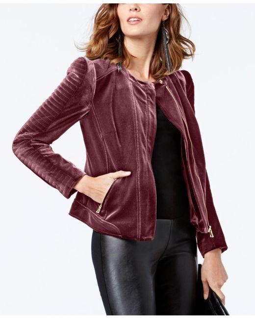 INC International Concepts | Red Petite Velvet Moto Jacket | Lyst