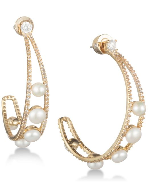 "Carolee - Metallic Gold-tone Crystal & Freshwater Pearl 1 1/2"" Open Hoop Earrings - Lyst"